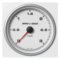 Veratron AcquaLink - 110mm White Tachometer Master 3000 RPM - 12-24V
