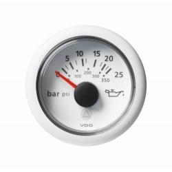 Veratron ViewLine - 52mm White Engine Oil Pressure  25Bar-350PSI - 12-24V DLRW