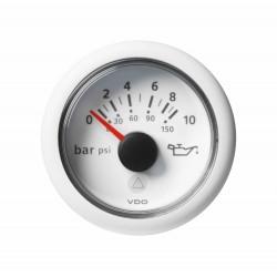 Veratron ViewLine - 52mm White Engine Oil Pressure 10Bar-150PSI - 12-24V DLRW