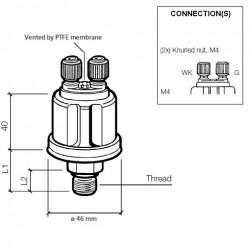 VDO Pressure sender 0-10 Bar - M12